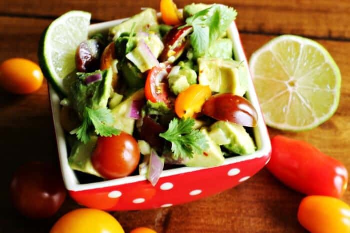 Tomato Avocado Salad with Cilantro Lime Dressing