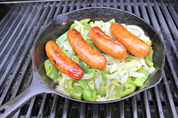 Grilled Italian Sweet Sausages with Peppers and Onions