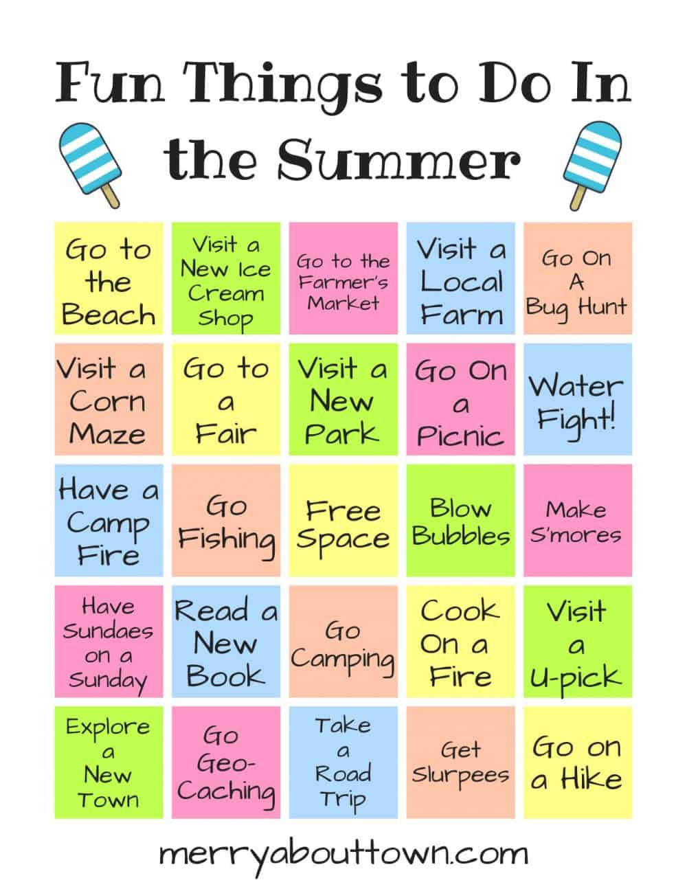 Fun Things to do in Summer Printable