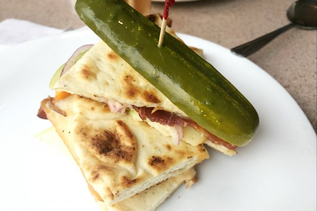 Cheese, Apple and Bacon on Naan Bread