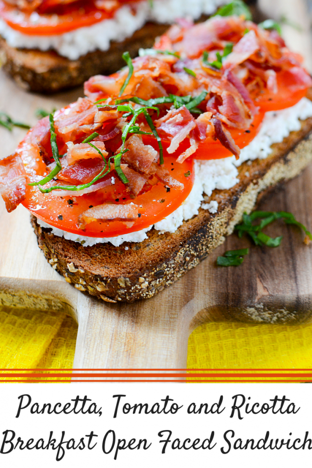 Pancetta, Tomato and Ricotta Breakfast Open Faced Sandwich (1)