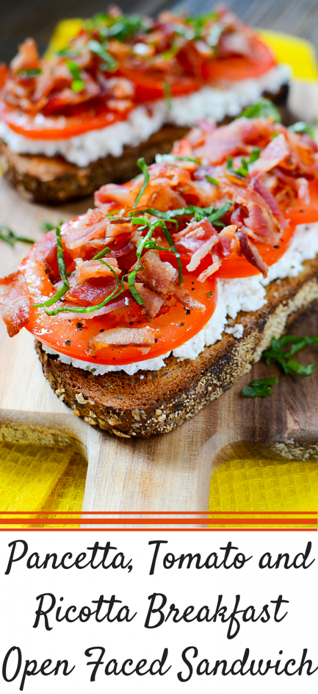 Pancetta, Tomato and Ricotta Breakfast Open Faced Sandwich