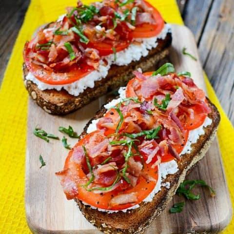 Pancetta, Tomato and Ricotta Breakfast Open Faced Sandwich