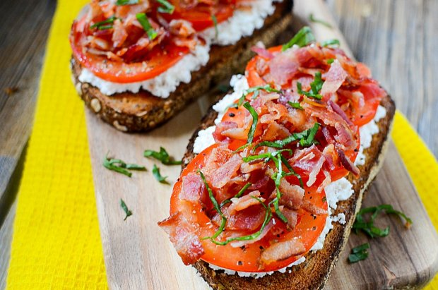 ricotta tomato panchetta open faced sandwich