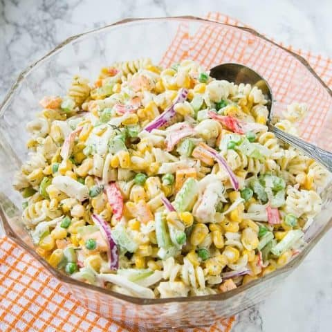 Corn and Seafood Pasta Salad Recipe