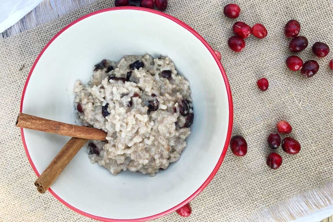 Creamy Cashew Milk Rice Pudding with Cranberries