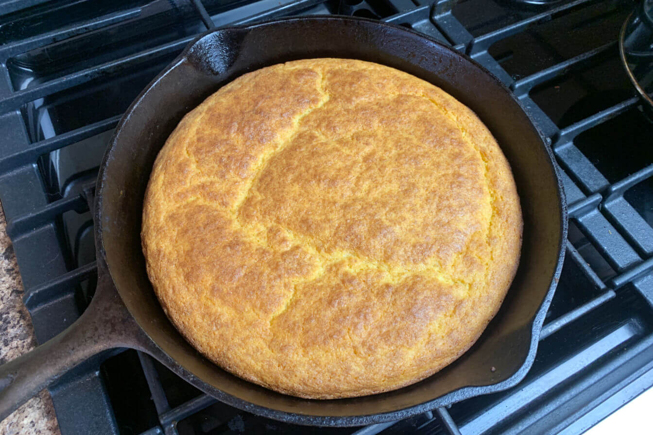 Skillet Cornbread out of the oven