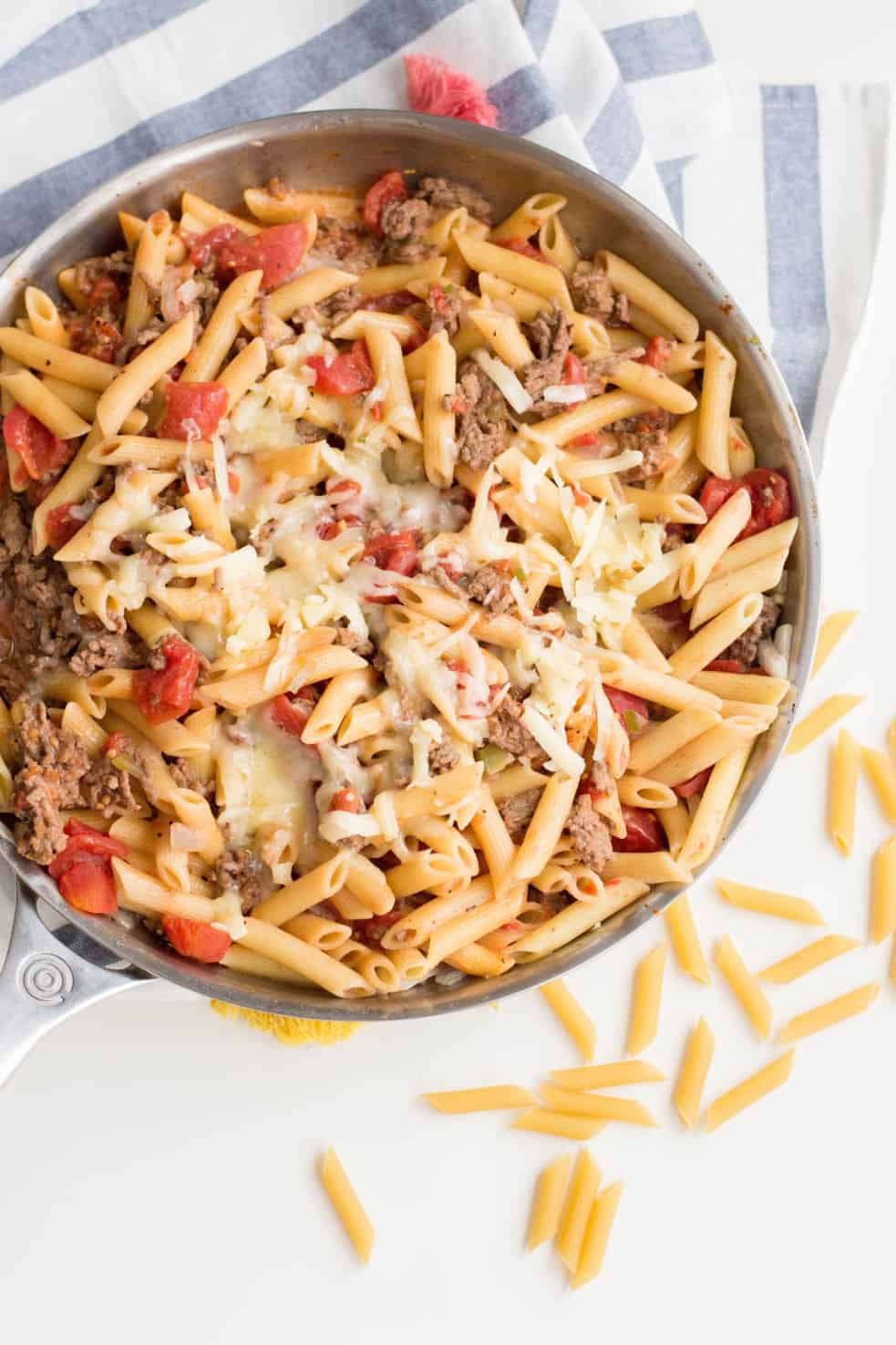 Cheeseburger pasta skillet with melted cheese