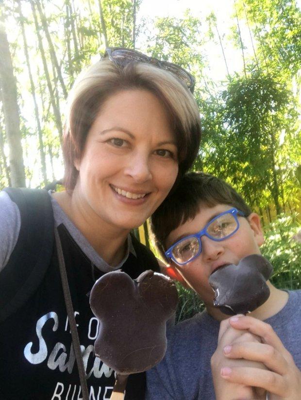 Enjoying a Mickey Ice Cream Bar
