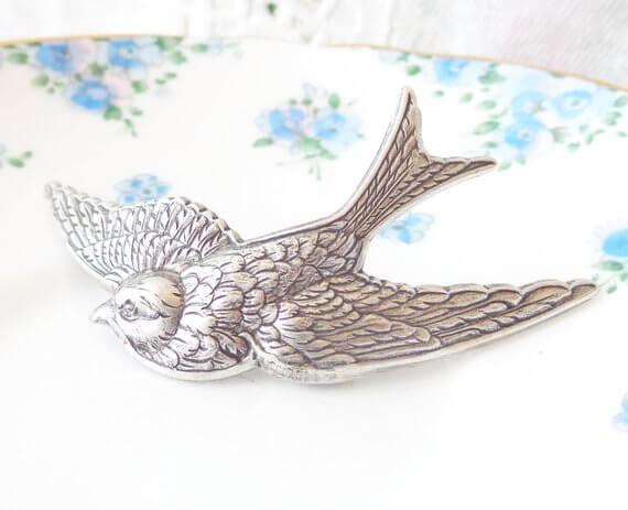 silver bird barrette