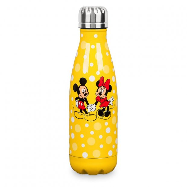 Yellow Mickey and Minnie Steel Water Bottle