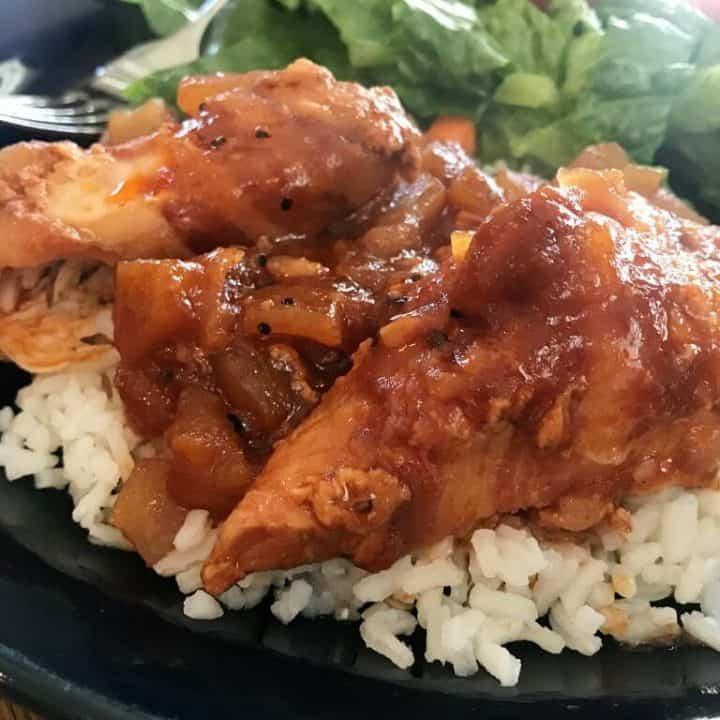 Apple BBQ Crock Pot Chicken