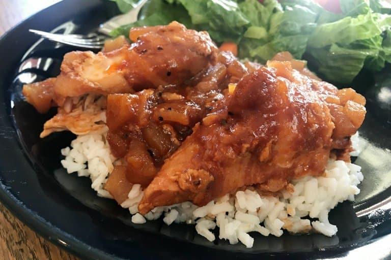 Apple bbq crockpot chicken