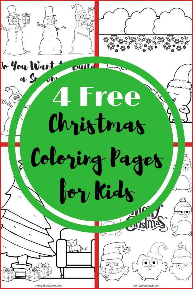 4 Free Christmas Coloring Pages for Kids