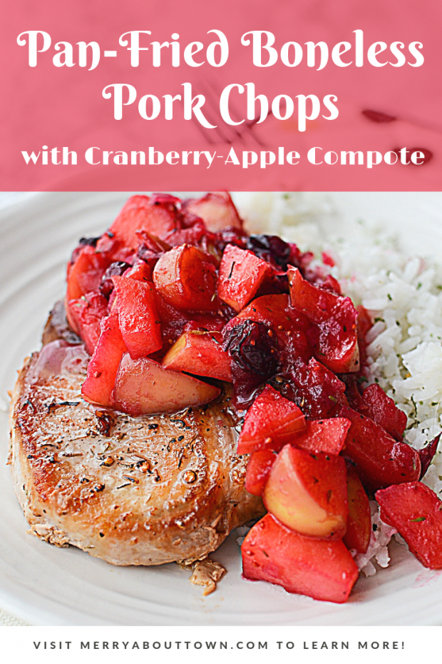 Pan-Fried Boneless Pork Chops with Cranberry-Apple Compote