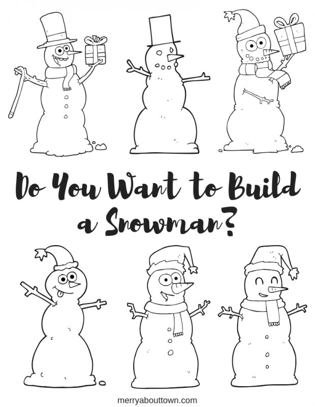 Do You Want to Build a Snowman free christmas coloring page