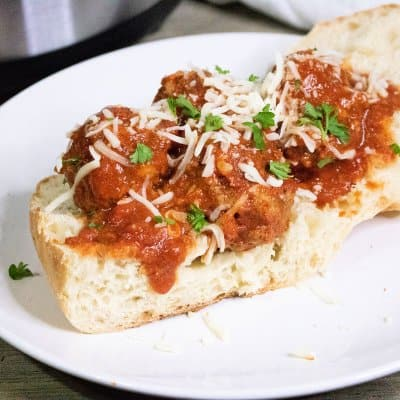 Easy Meatball Sauce from Scratch in the Instant Pot on a bun