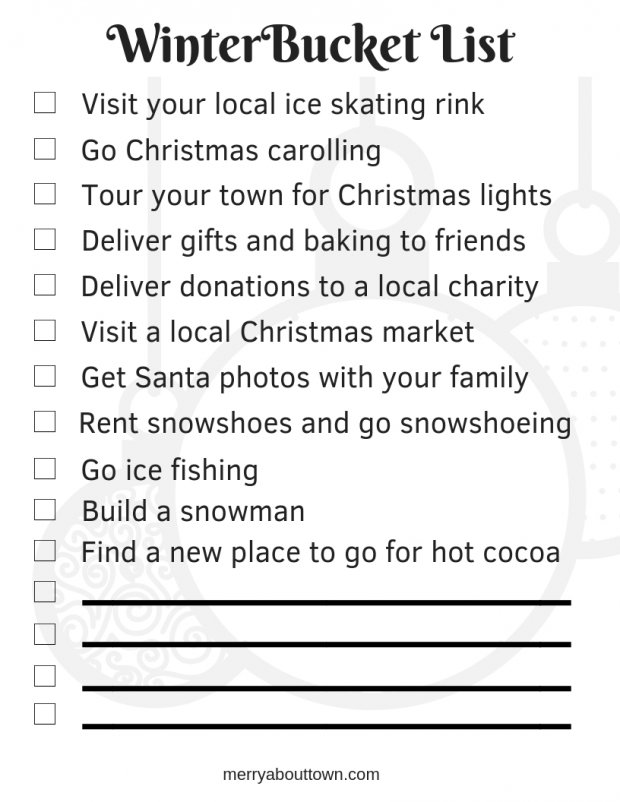 Winter Holidays Bucket List