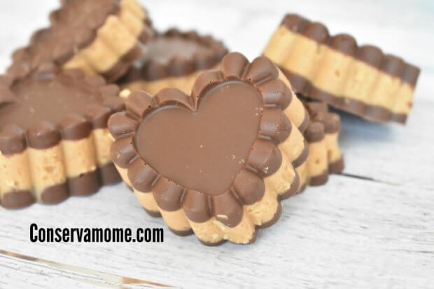 chocolate and peanut butter hearts.