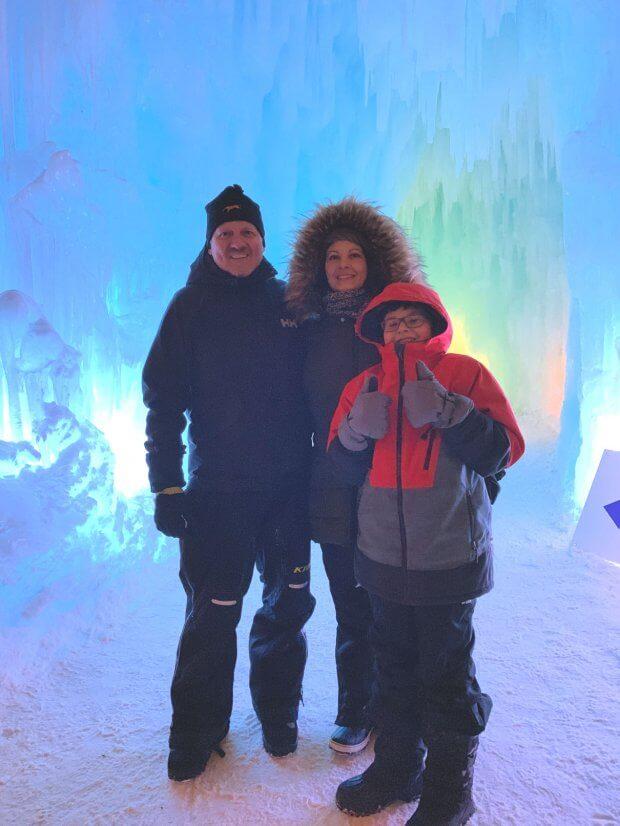 Family visit to Ice Castles Edmonton