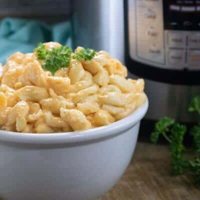 Instant Pot Macaroni and cheese in a white bowl