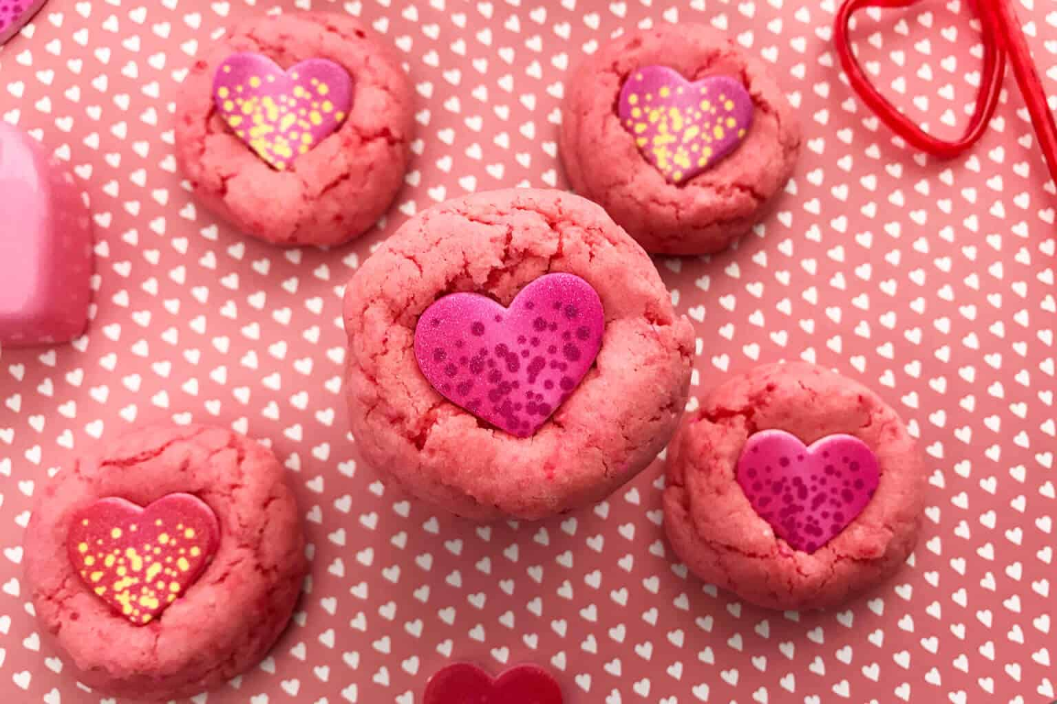 Strawberry cake mix cookies with candy hearts