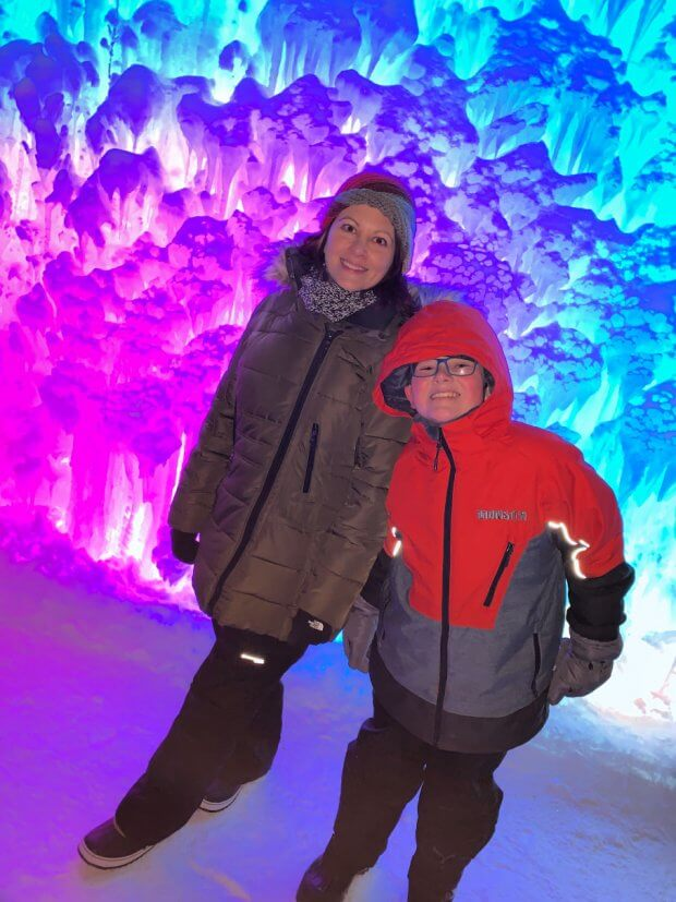 The rainbow wall at Ice Castles Edmonton