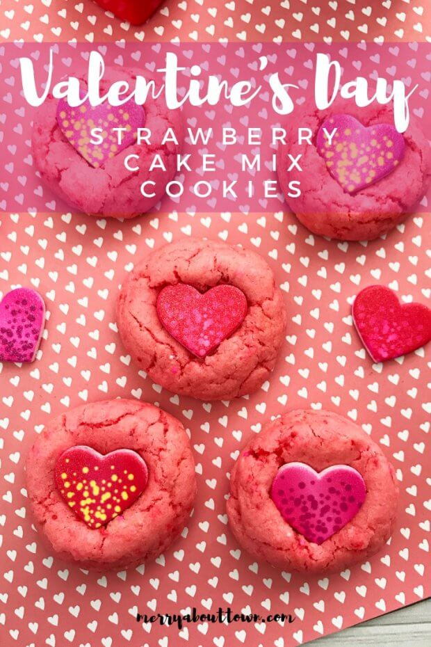 Valentine's Day Strawberry Cake Mix Cookies