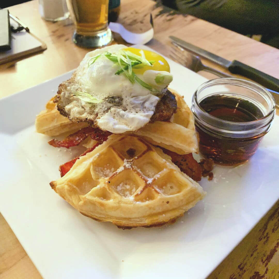 Lacombe Restaurants Chicken and Waffles at Cilantro and Chive