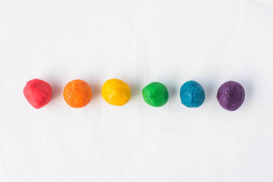 rainbow cookie dough divided by color