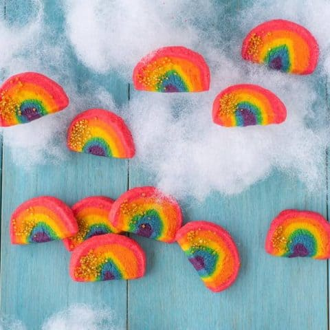 rainbow cookies on cotton clouds