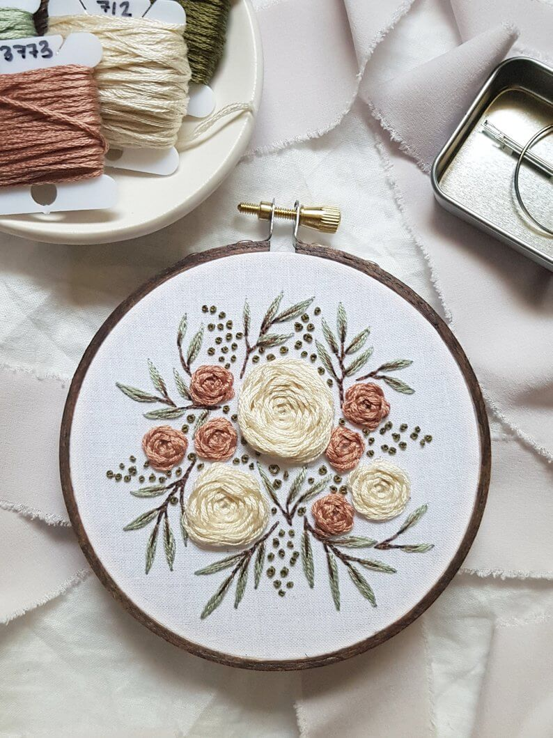 Pink Summer Florals Embroidery Kit from Etsy