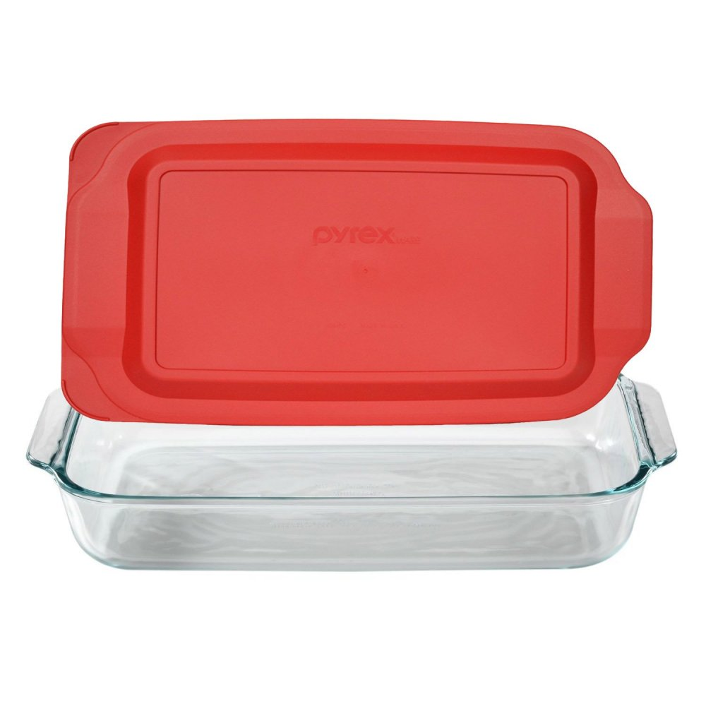 Casserole dish with cover for a potluck