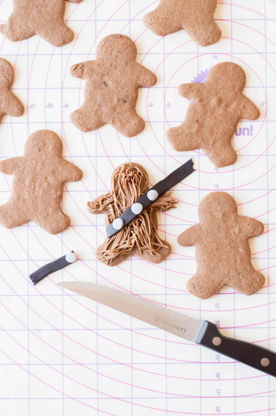 Adding the belt to the Wookie Cookies