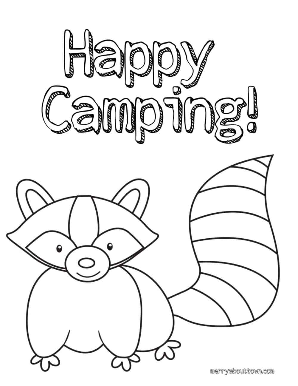 Camping Activities for Kids - happy camping coloring sheet