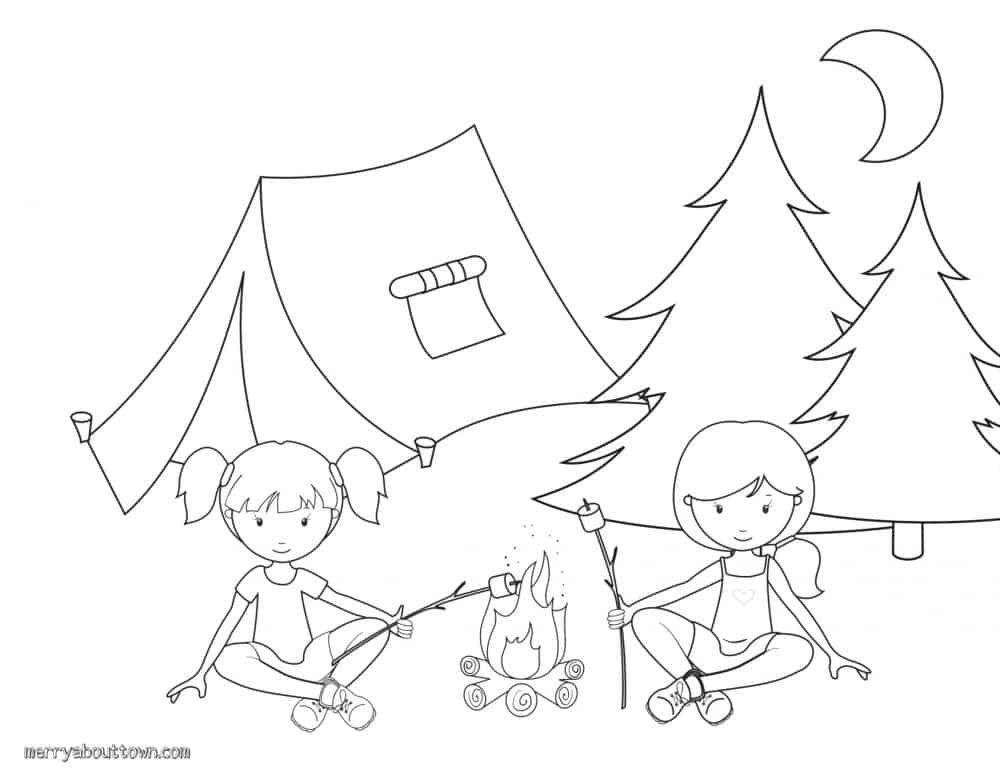 Camping Activities for Kids - Roasting Marshmallow coloring sheet