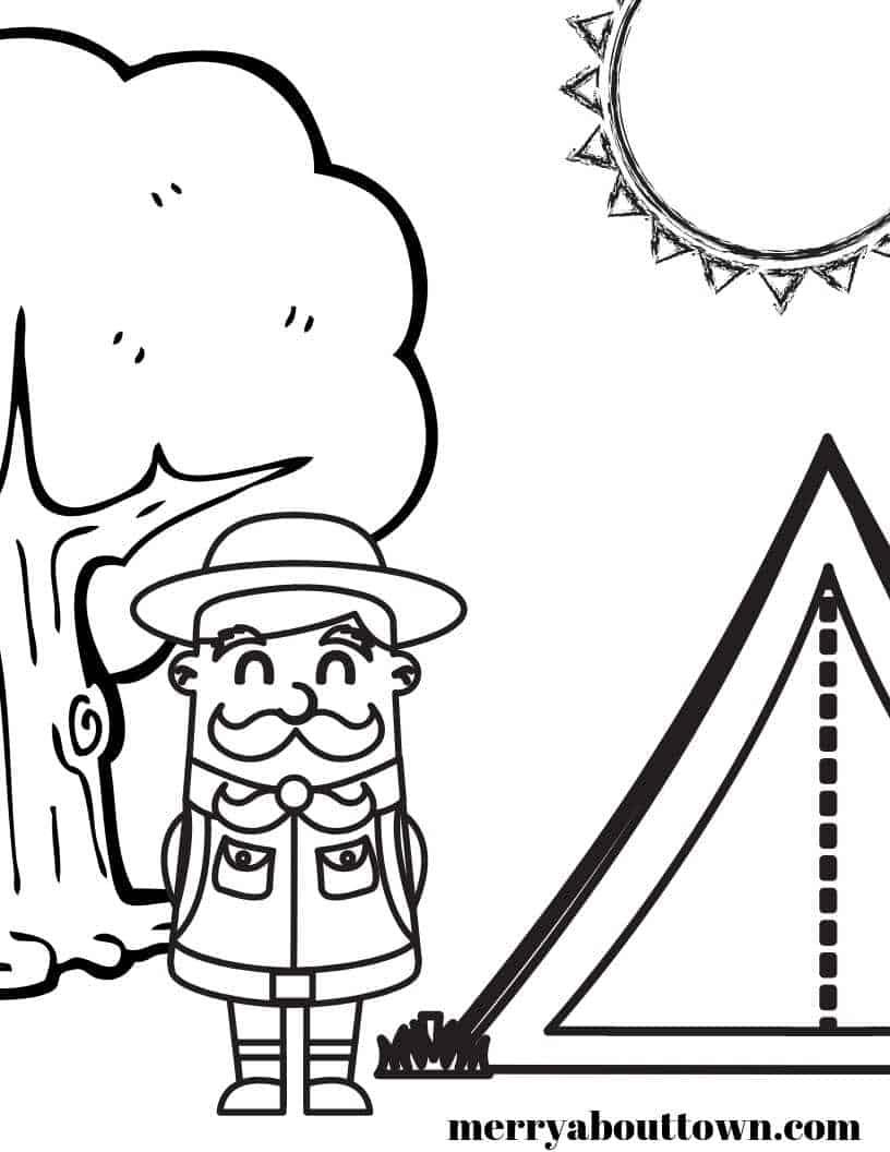 Free camping ranger coloring sheet