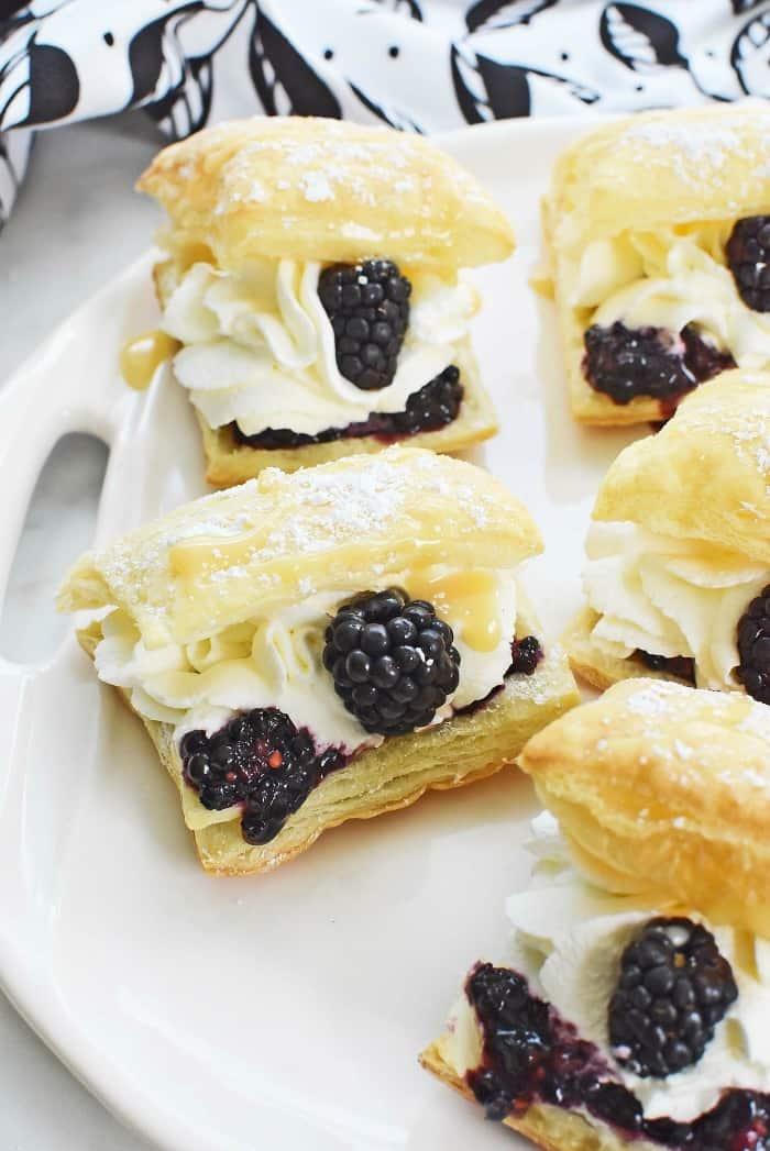 Cream Puffs with Blackberries & White Chocolate