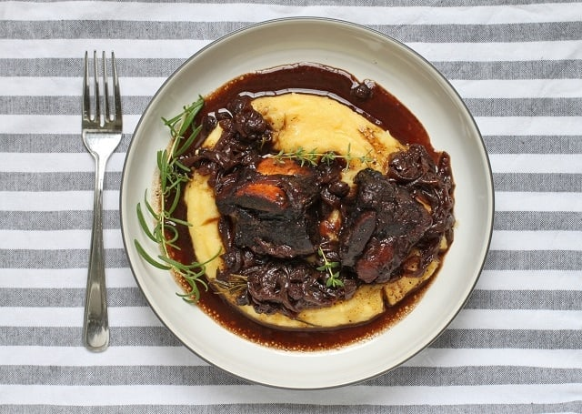 Blueberry Balsamic Braised Beef Short Ribs