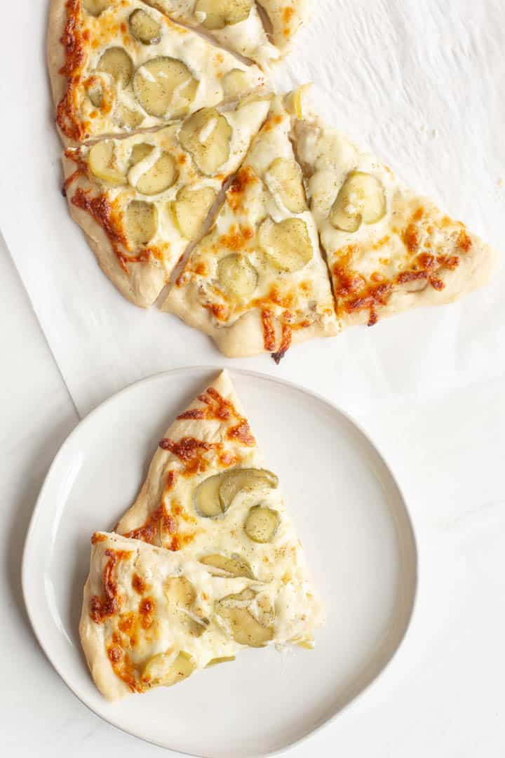 Creamy Garlic and Dill Pickle Pizza