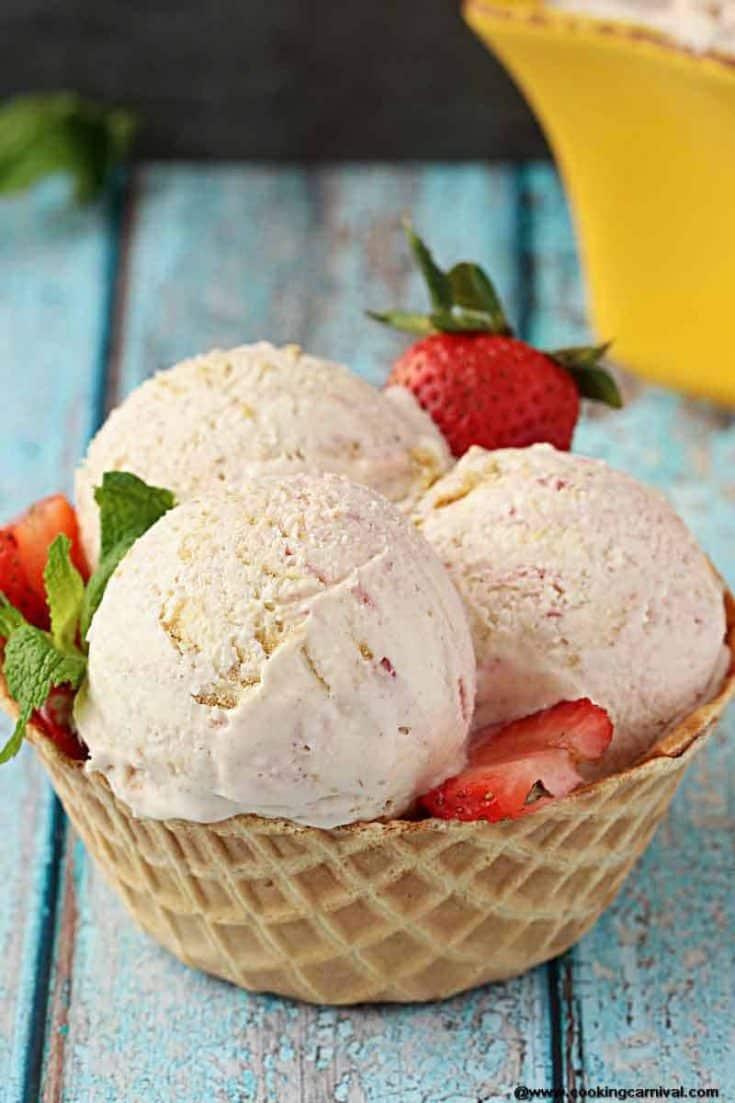 Homemade Strawberry Cheesecake Ice Cream | Eggless Ice cream