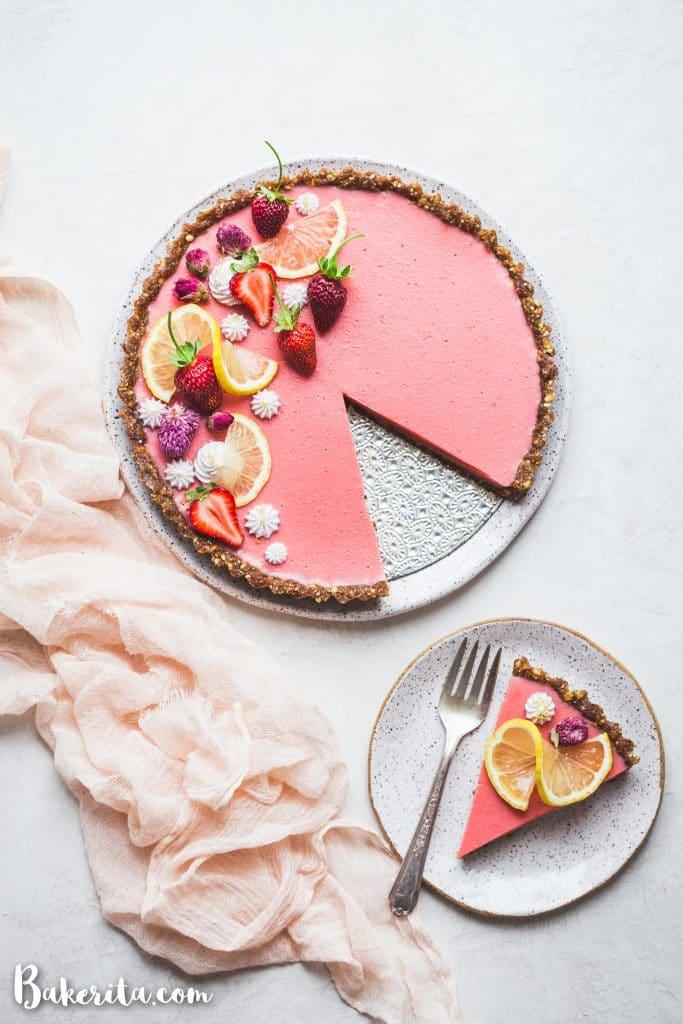 Vegan Strawberry Lemonade Tart with Hazelnut Crust (Gluten Free + Paleo)