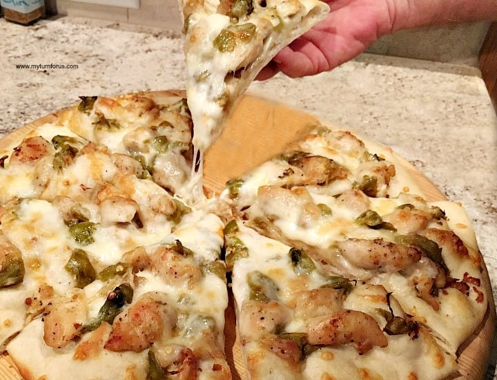 Grilled Pizza with Garlic Chicken and Hatch Green Chile