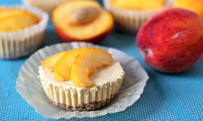 Vegan No Bake Peach Cheesecake Bites