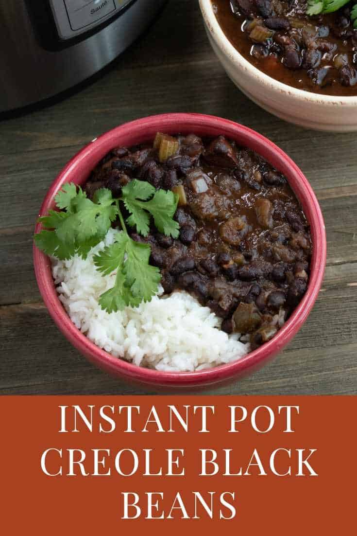 instant pot black beans in a red bowl served with rice