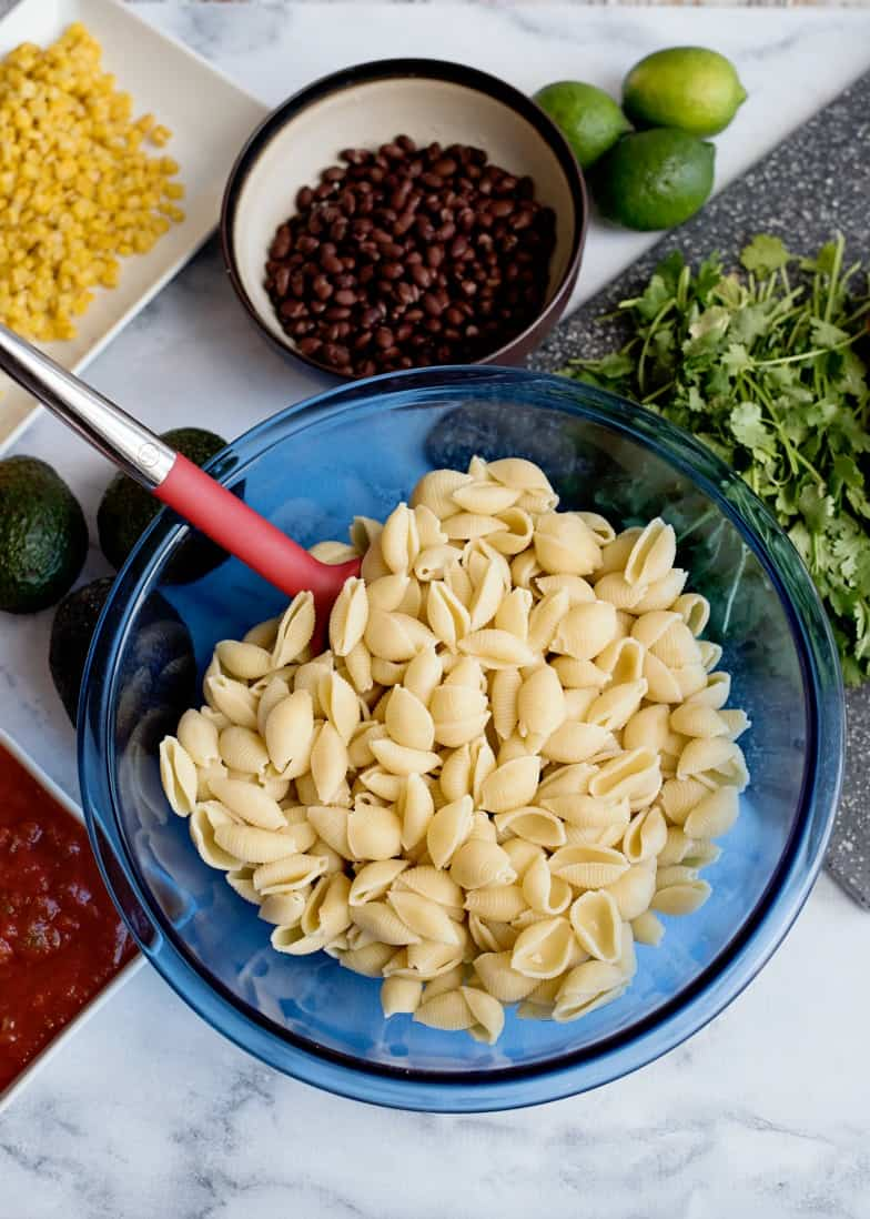 preparing the pasta for Mexican Pasta Salad