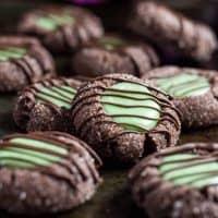 Mint Chocolate Thumbprint Cookies