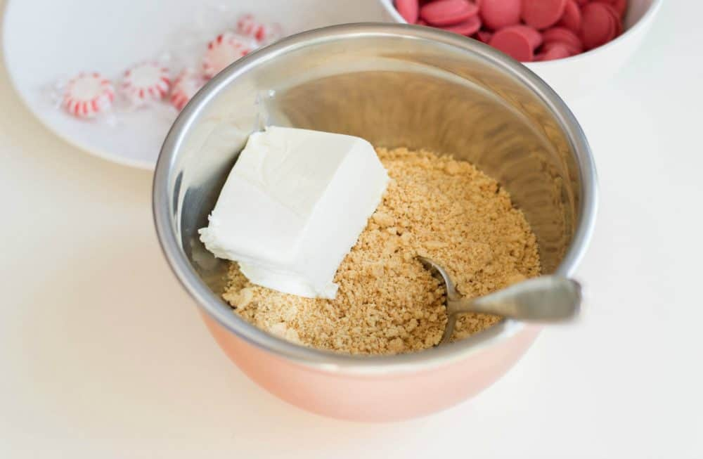 Adding cream cheese to cookie crumbs for Truffles
