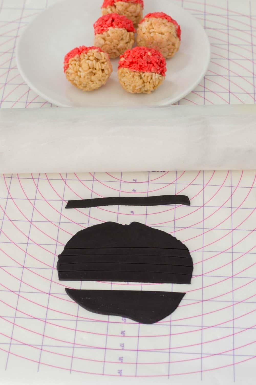 add fondant to trim pokeball treats