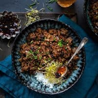 Spicy beef mince stir fry with eggplant and mushrooms